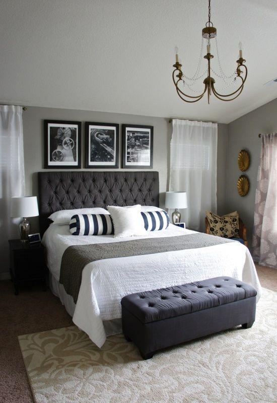 Украшение спальни черно-белыми элементами декора