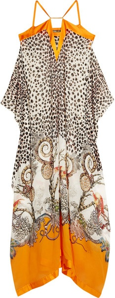 Roberto Cavalli Printed Silkgeorgette Maxi Dress in Orange (leopard) - Lyst