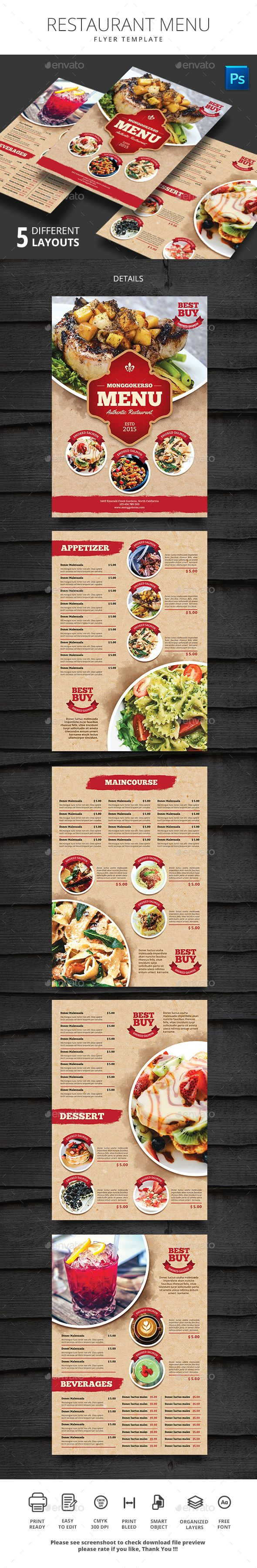 Restaurant Menu u2014 PSD Template menu templates