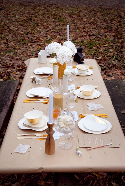 A Very Lovely and Simple Outdoor Table Setting - Put Boxes of Crayola Crayons on Each Table with the Brown Paper Table Covers! Plus, Put a Small Variety of the Candies in Jars along with the Vases of Flowers!