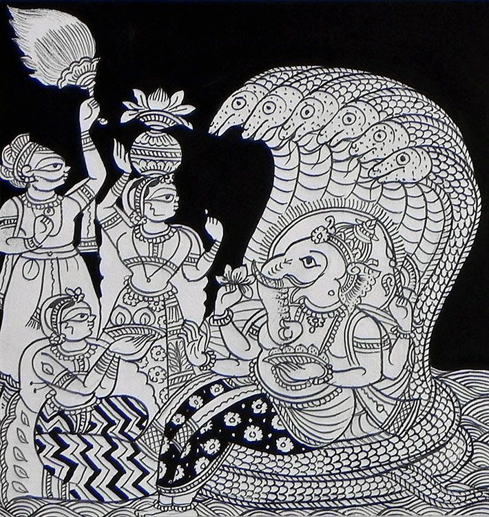 Devotees Worshipping Lord Ganesha (Phad Painting on Cloth - Unframed))