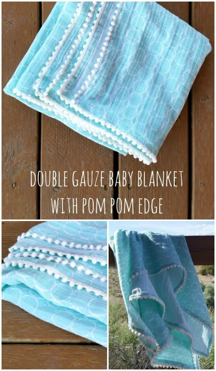 pom pom edge double gauze baby blanket tutorial with video to help with the double hem or binding