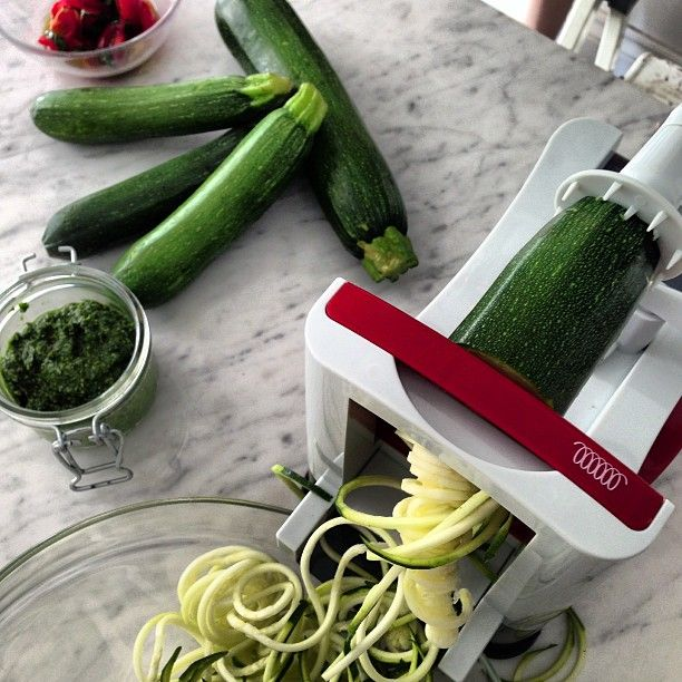 Raw #courgette #spaghetti in the making.