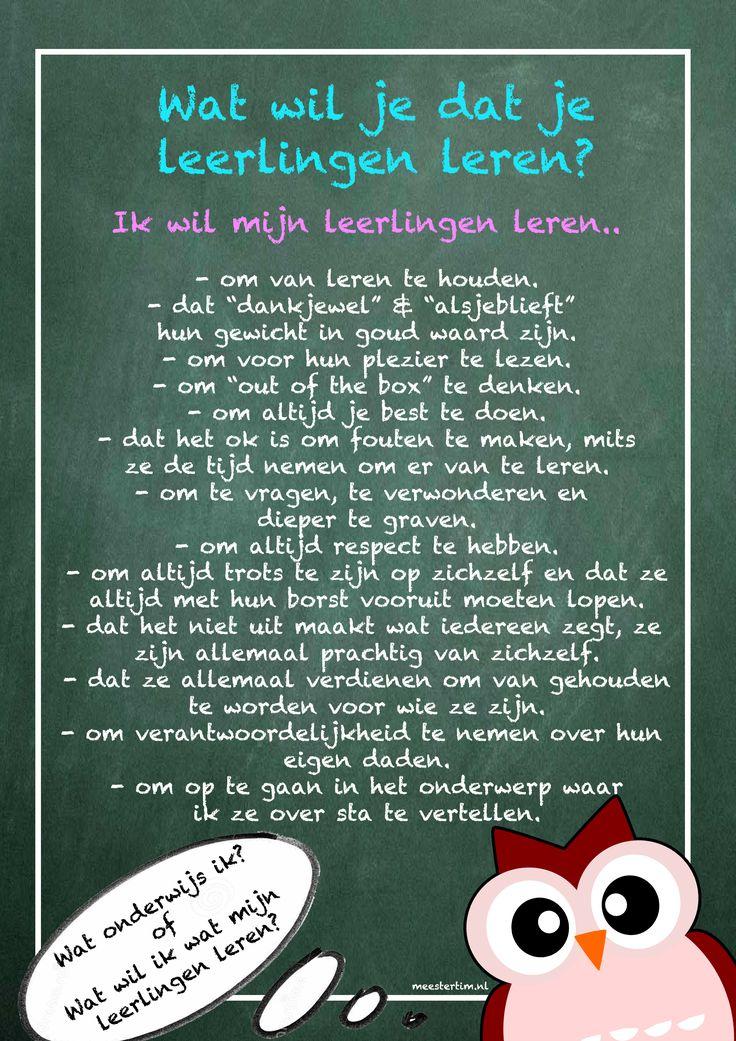 Wat wil je dat je leerlingen leren? Mooi ! ! !