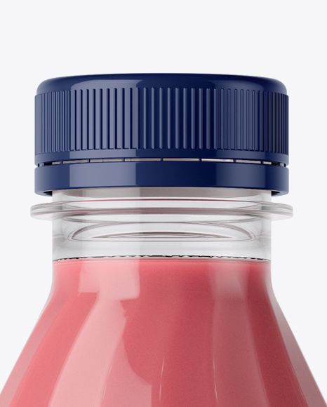 Glossy Plastic Bottle w/ Berry Yoghurt Mockup (Close-Up)