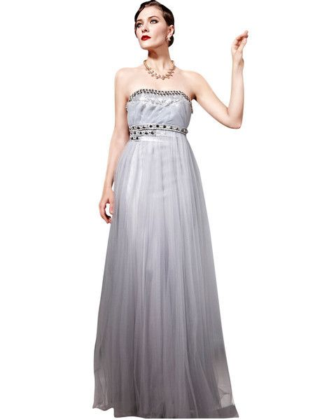 Silver Chiffon Floor Length Evening Dress (56832)  £235.00 Enchanting evening dress in pure silver colour featuring strapless A Line silhouette with dramatic chiffon overlay floor length skirt and tube style bodice embellished with dark toned crystals in neckline and waist.