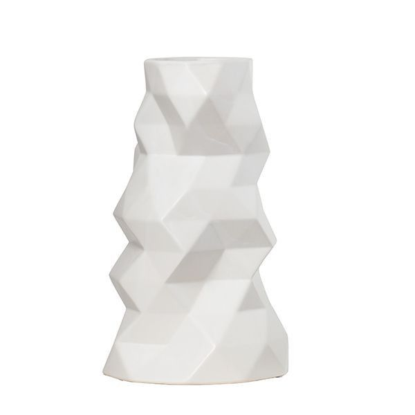 The intricate Faceted Vase, in white, offers a structured, modern look to present your favourite blooms. Dimensions: 15.5x25.5cm