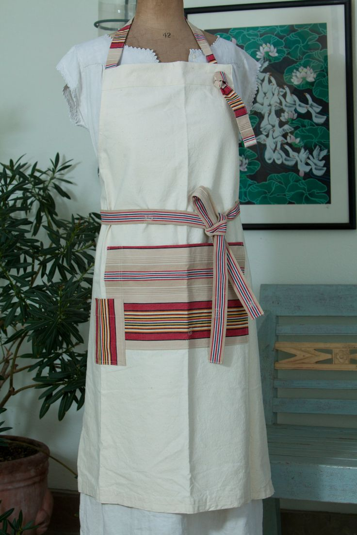 White apron penn quarter - Large And Sturdy Cook S Apron Made With Vintage French Fabrics Tough Life Apron