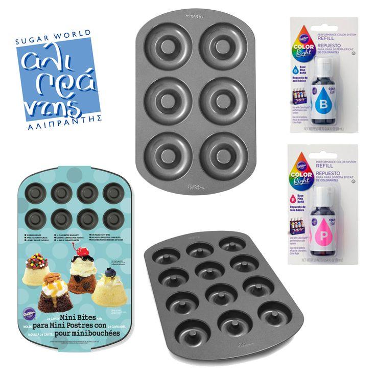 Μια έξυπνη πρόταση, ιδανική για πρωινό! Με τα αντικολλητικά μας σκεύη μπορείτε να ψήσετε εύκολα το donut που ταιριάζει στις γεύσεις σας! Με τις οδηγίες και τα χρώματα της #Wilton δημιουργήστε μοναδικούς χρωματικούς συνδυασμούς!  Bρείτε τα απαραίτητα σκεύη και χρώματα στο e shop μας www.sugarworld.gr/eshop Κωδικός:023.30.343 Κωδικός:023.30.341 Κωδικός:023.30.340 Κωδικός:009.02.509 Κωδικός:009.02.507