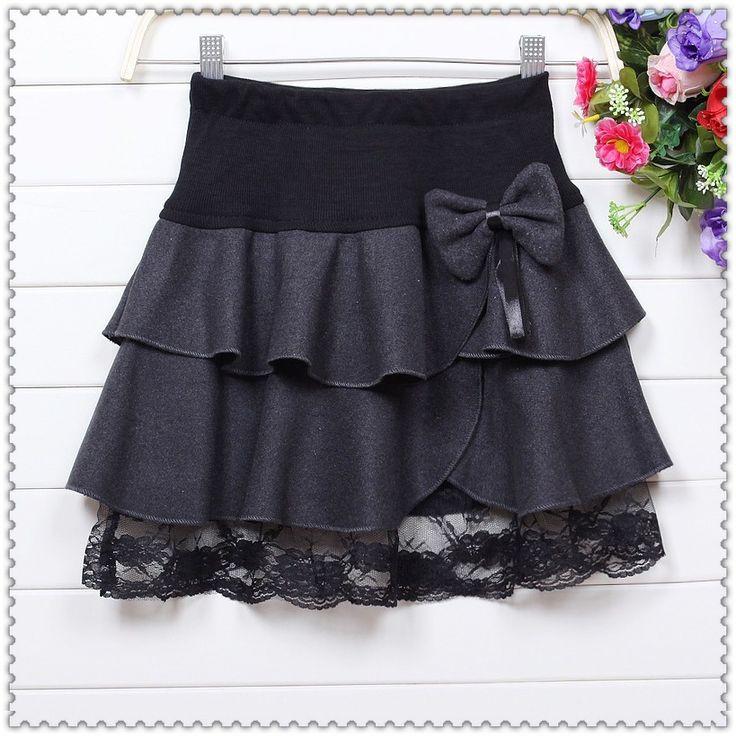 2013 Autumn winter plus size sweet bow design thick wool skirt high waist ruffles pleated skirts women mini lace skirt