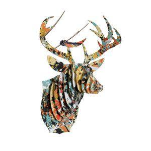 Abstract paint splatter paper origami deer head - gallery wall art inspiration