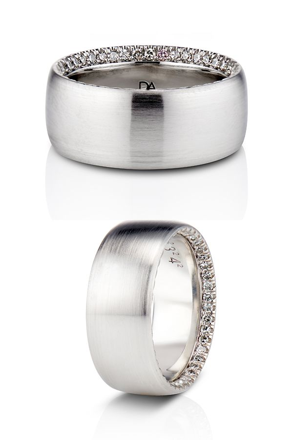 Platinum Mens Wedding Band With Hidden Diamonds Exclusively By