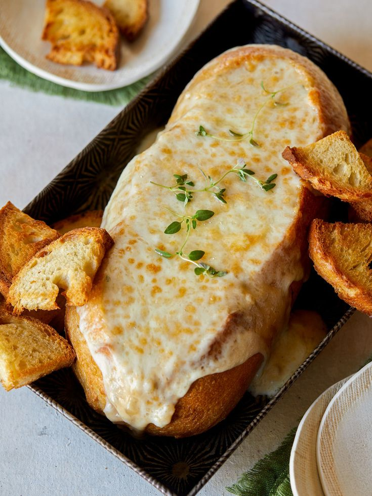 Creamy French Onion Soup Dip in a Bread Bowl