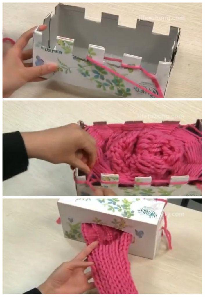 Spiegazioni per costruire un telaio con le scatole dei kleenex e usarlo per fare la maglia tubolare.