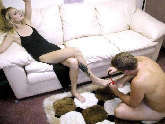 Femdom wife pedicures husband