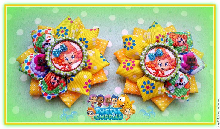 Купить Бантики звёздочки - комбинированный, рисунок, бантик, бантики для волос, бантики для девочек, бантики в подарок