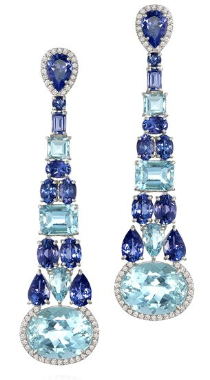 Blue Gemstone, Sauer Earrings in White gold set with tanzanites, aquamarines and diamonds.