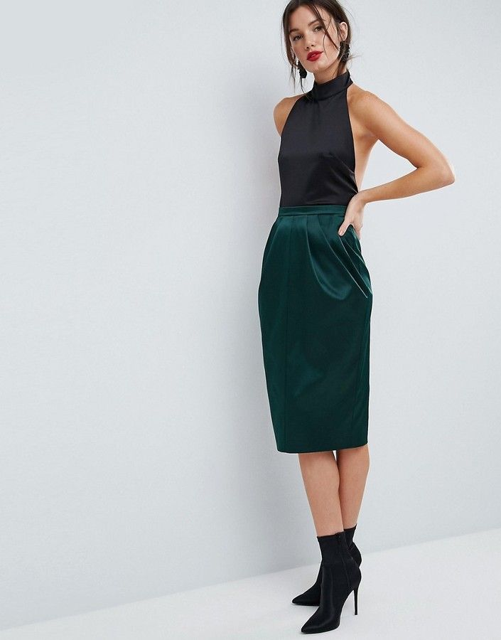 Asos Satin Tulip Pencil Skirt