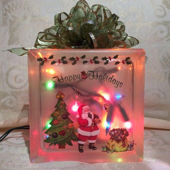 santa and toys decorated mini glass block - Christmas Glass Blocks