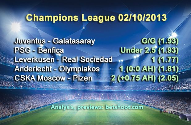 Five Champions League picks for tonight. Good luck!  Juventus - Galatasaray G/G (1.93) PSG - Benfica Under 2.5 (1.93) Leverkusen - Real Sociedad 1 (1.77) Anderlecht - Olympiakos 1 (0:0 AH) (1.81) CSKA Moscow - Plzen 2 (+0.75 AH) (2.05)  More picks and analysis on our homepage:   http://www.betshoot.com