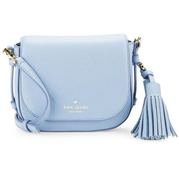 Kate Spade New York Small Penelope Leather Saddle Bag (£180) ❤ liked on Polyvore featuring bags, handbags, shoulder bags, grey skies, grey leather shoulder bag, grey purse, grey leather handbag, kate spade handbag and gray leather purse