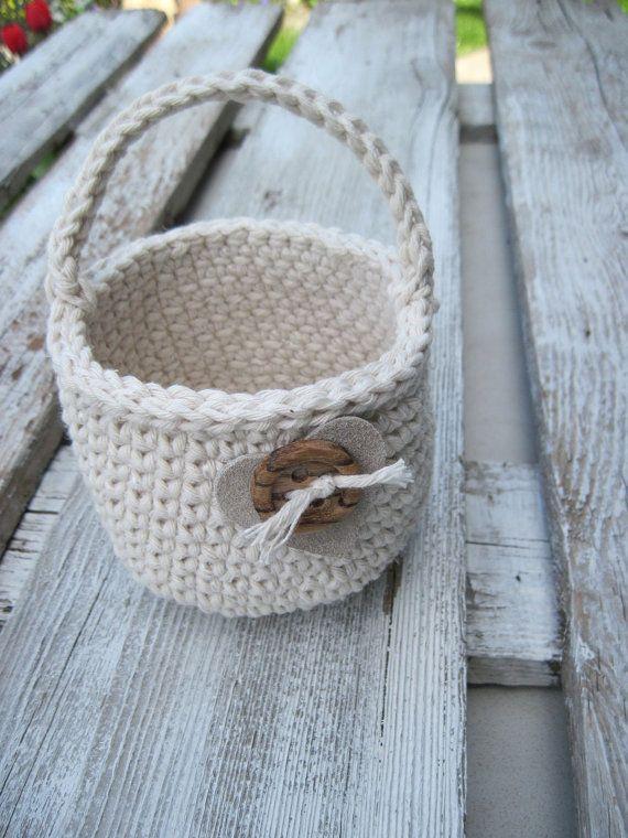 Flower Girl Basket heart gift Basket Cotton Natural Wedding Rustic Crochet Basket leather hert Alternative Gift Bags Wedding