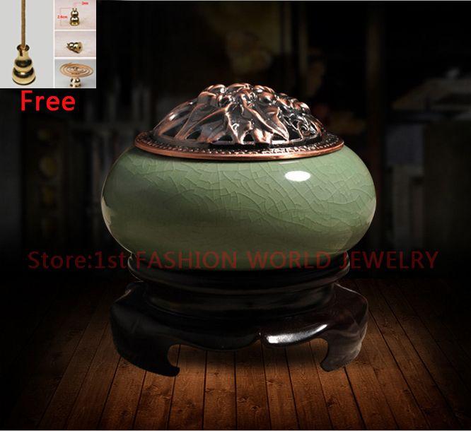 New Design Chinese Celadon Ceramic Incense Burner Sandalwood Incense Censer Stove Furnace Home Decor Free Shipping
