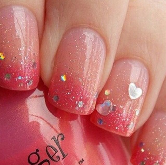 Simple sparkle and heart nail art