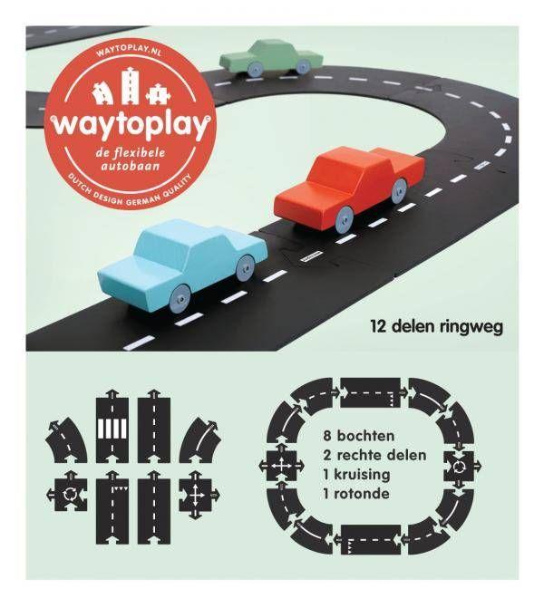 Waytoplay is de flexibele autobaan die bestaat uit makkelijk te koppelen baandelen. Met deze rubberen autowegdelen speel je op iedere ondergrond: over tapijt, op tafel, in de zandbak, over gras en rotsen. Zowel binnen als buiten, op vakantie en met al je