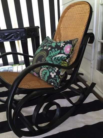 """Gloss Black Bentwood Rocker. Restored Antique Rocking Chair. Image taken from """"How to Restore an Old Wicker Rocking Chair"""""""