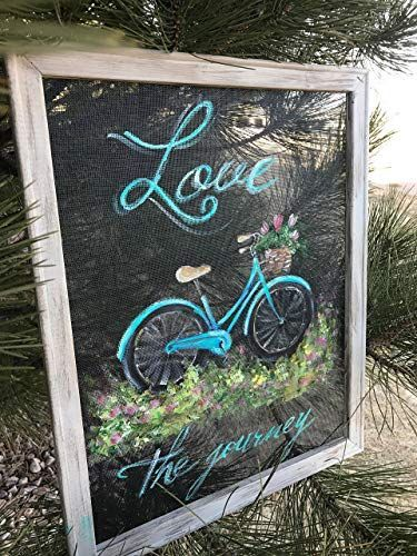 Love the Journey, vintage bike hand painted on window screen #ad