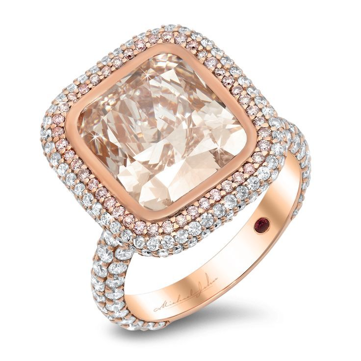 Rose Gold Ring With CT Round Brilliant Cut Diamonds And Pink DiamondsCenter Stone Sold Separately 25598