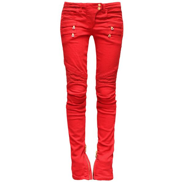 BALMAIN Red Biker Jeans ❤ liked on Polyvore