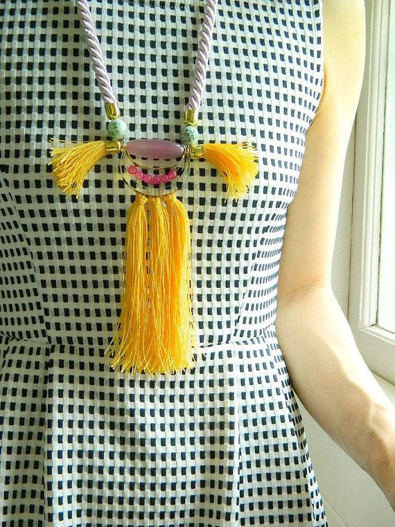 Japanese Yellow Fringe necklace rope Statement Necklace Bib by SakuraPink