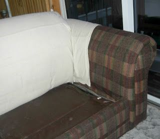 Interesting idea, staple a canvas drop cloth to the frame.   Mommy's Middle Ground: How to ReCover a Couch – Step 1