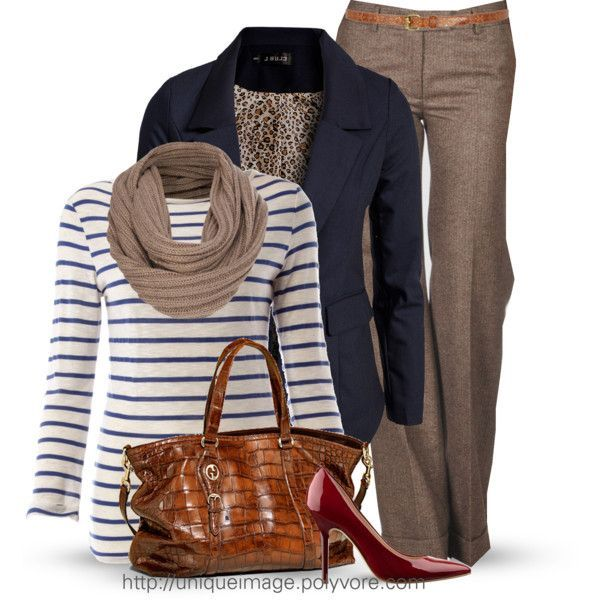 Linea Weekend Striped boat neck 3/4 sleeve tee (navy/white)/navy blazer/crimson pumps/taupe slacks and scarf