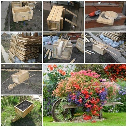 How to make a decorative wooden garden wheelbarrow planter ?   Check instructions--> http://wonderfuldiy.com/wonderful-diy-rustic-wheelbarrow-garden-planter/