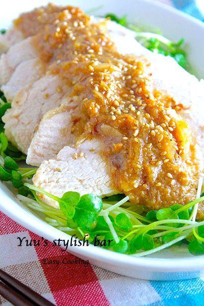 オニオンゴマ味噌ダレで頂く♡ヘルシー蒸し鶏