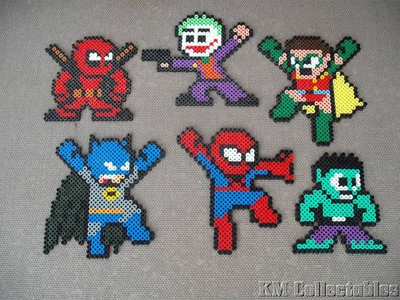 Super Heroes Marvel DC Comic Batman Robin Joker Spiderman Hulk Dead Pool Hama Perler Bead Designs. Characters Wall Art Coaster Unusual Gifts