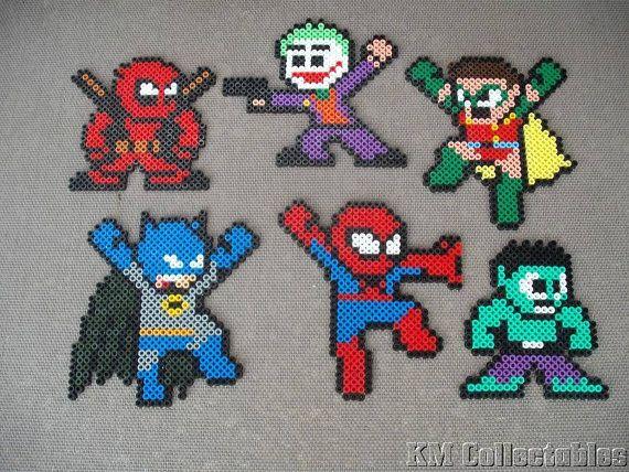 Super Heroes Marvel DC Comic Batman Robin Joker Spiderman Hulk Dead Pool Hama Perler Bead Designs. Characters Wall Art Coaster Unusual Gifts