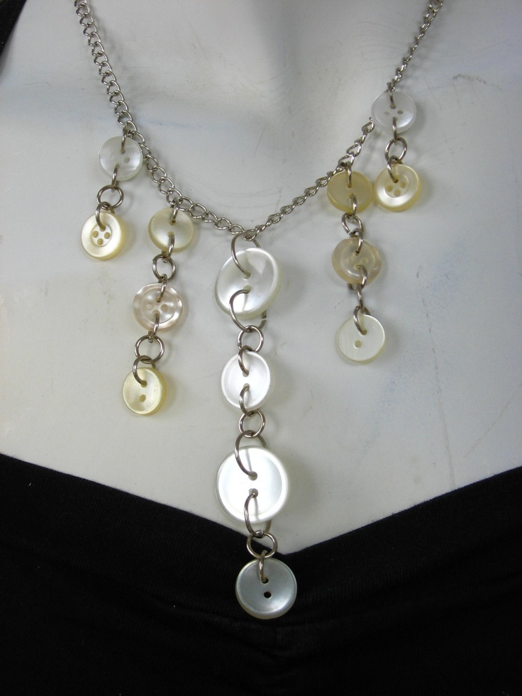 BUTTONS JEWELRY button nacklace   pearl white buttons  on a silver chain. buy necklace get earring in  the same colours for  FREE. $30.00, via Etsy.