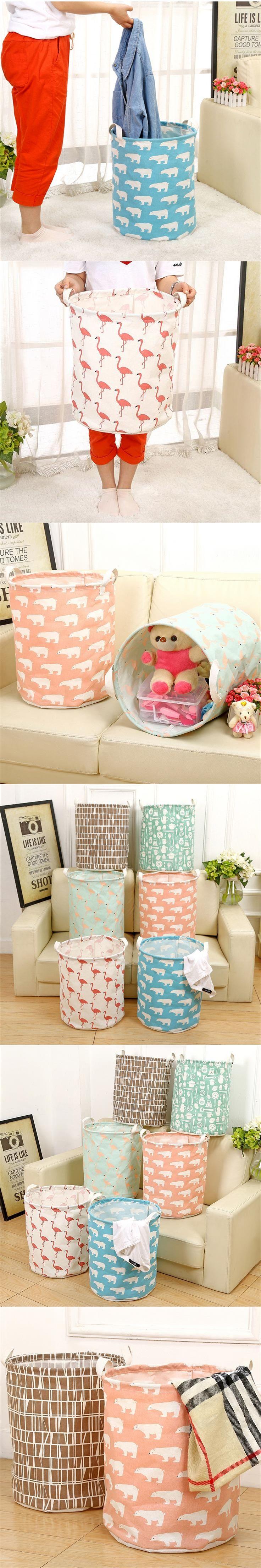Doreen Box 41x30cm Flamingo Large Capacity Linen Laundry Baskets Bags Dirty Clothes Storage Barrels Home Sundries Toys Organizer