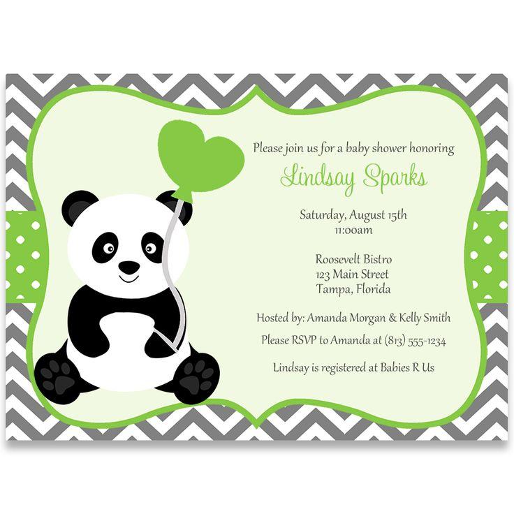 Panda Baby Shower, Green, Invitation