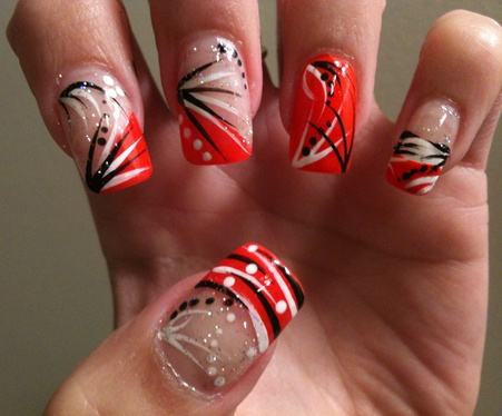 orange, black white nails - like the middle finger design | make-up and  nails | Nails, Nail designs, Orange nail designs - Orange, Black White Nails - Like The Middle Finger Design Make-up