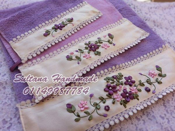 Set of 3 towels, 100 % Egyptian cotton with handmade embroidery different colors & sizes are available https://www.facebook.com/photo.php?fbid=788491901174984&set=pb.575744762449700.-2207520000.1401360725.&type=3&theater