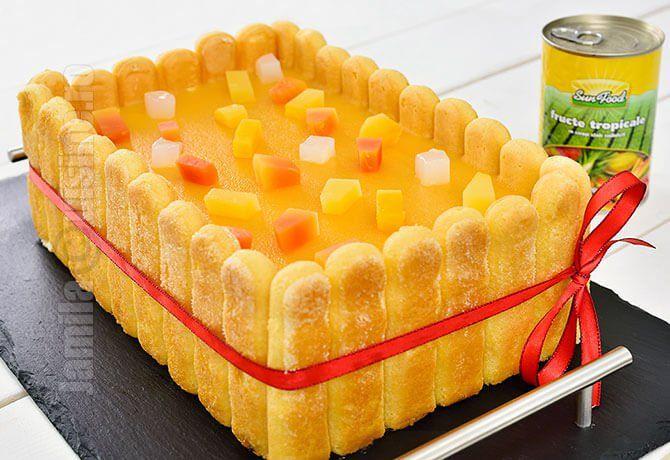 Reteta de tort diplomat cu fructe tropicale este perfecta pentru zilele de sarbatoare in special pentru masa de Anul Nou.