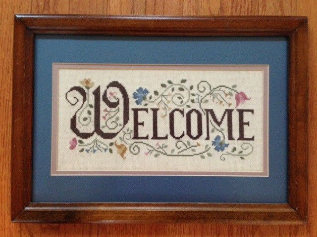 Vintage WELCOME framed cross stitch wall decor picture 17 x 12 wood ...