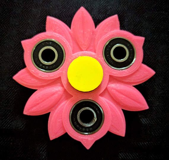 Well 3D print a Girly Girl fidget spinner* in your choice of colors** (shown in pink with yellow center (secondary color)- see additional photos for color card, etc.). This spinner measures approx. 3.5 wide.  This listing is for the version in the first two photos - other images demonstrate color and other options. Select your primary color, then a second color for the center grip. Item will be printed and mailed to you. All of the spinners sold by The Bestest Stuff were designed by its…