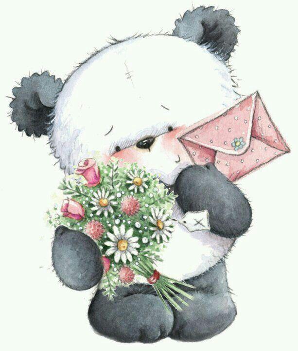 Открытки панда с зайцем