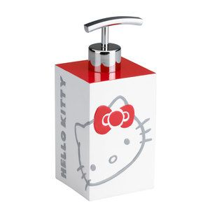 Hello Kitty Bathroom Accessories  Hello Kitty looks great for her 37 years and is still going strong: smiling, winking, and generally cute-ifying all that she adorns. With her trademark red bow, this fancy feline makes even the most mundane bath products positively cheery.